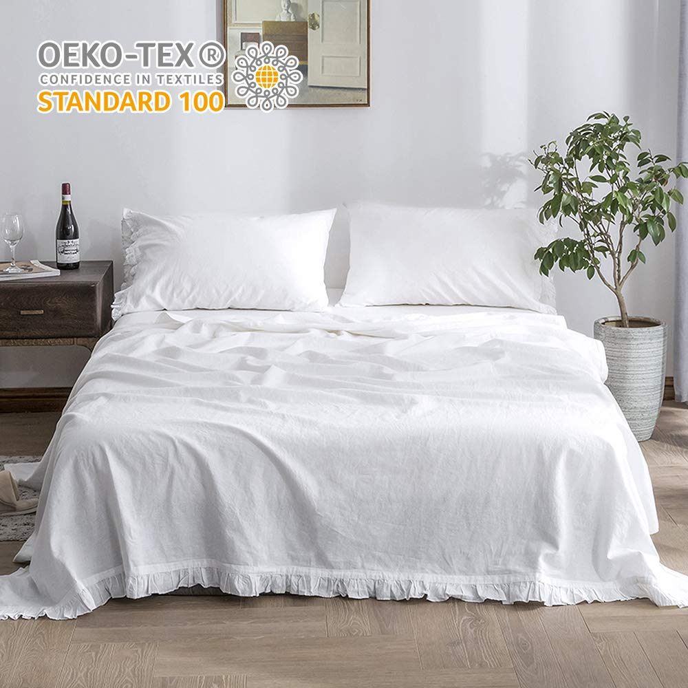 Simple&Opulence Belgian Linen Sheet Set with Ruffles - Full Size - 4 Pieces (1 Flat Sheet & 1 Fitted Sheet & 2 Pillowcases) Natural Flax Cotton Blend Soft Bedding Breathable Farmhouse - White