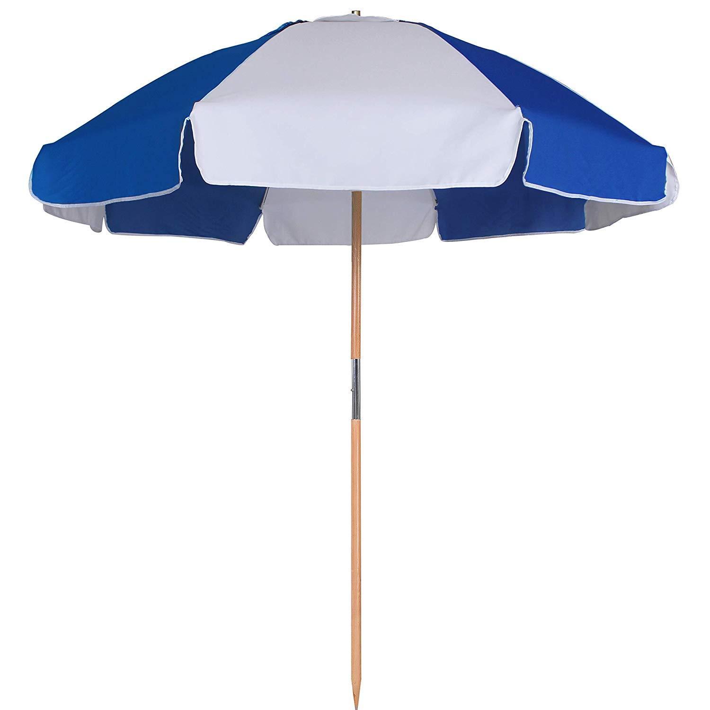AMMSUN 7.5ft Fiberglass Ribs Commercial Grade Patio Beach Umbrella with Air- Vent Ash Wood Pole & Carry Bag Blue/White