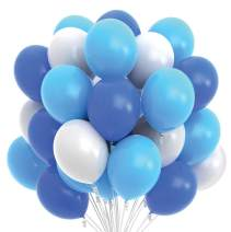 Prextex 75 Party Balloons 12 Inch Dark Blue, Light Blue and White Balloons with Ribbon for Blue White Color Theme Party Decoration, Boy Baby Shower, Birthday Parties Supplies, Helium Quality