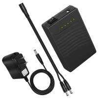 TalentCell Rechargeable 12V DC Output Lithium ion Battery Pack for LED Strip/Light/Panel/Amplifier and CCTV Camera with Charger, Multi-led Indicator Black (3000mAh)