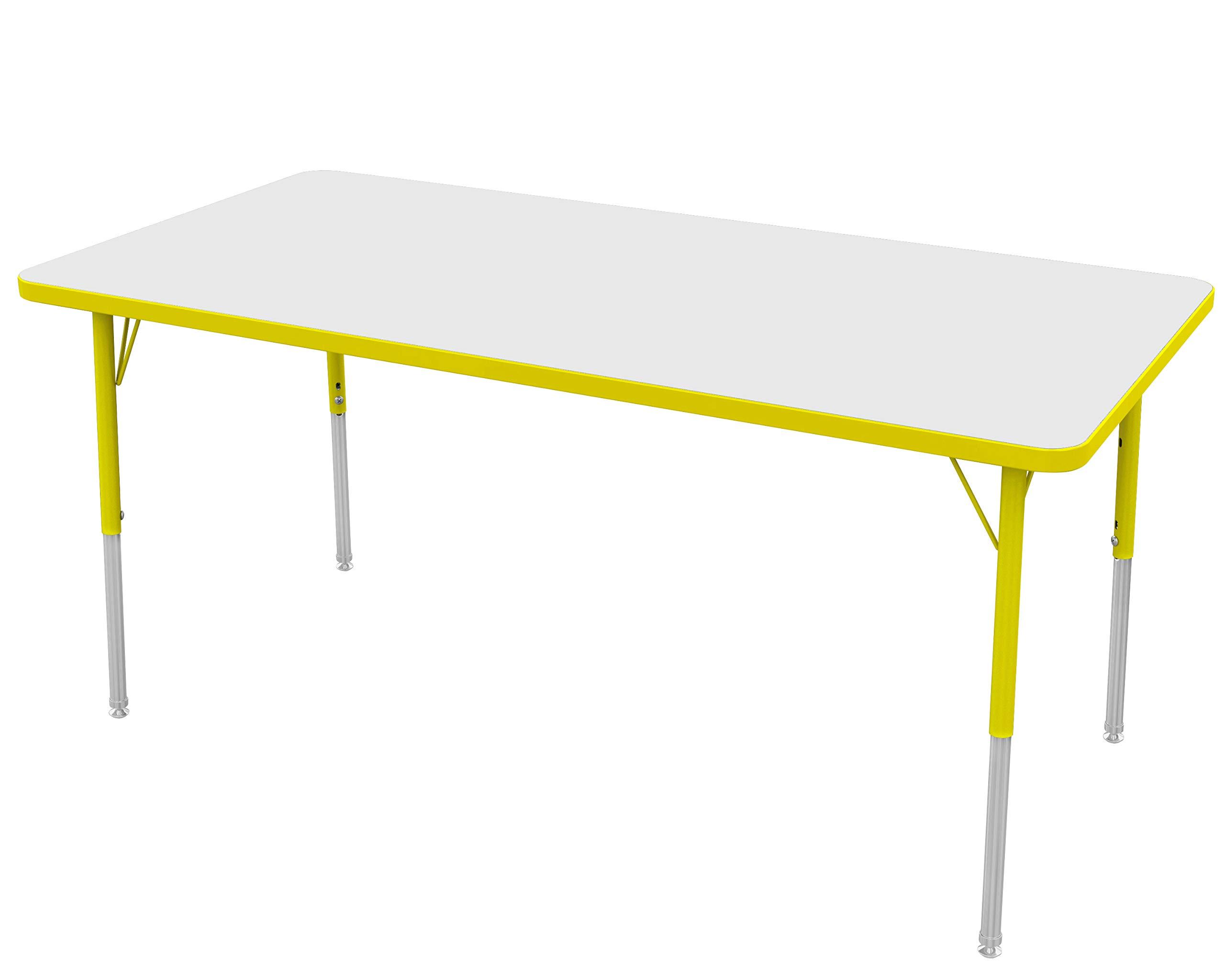 "Marco Group MGA2237-A9-AYEL 30"" x 60"" Rectangular Adjustable Height Classroom Activity Tables (16""- 24"") Toddler Size, Dry Erase-Top, Yellow-Edge, Yellow Leg"