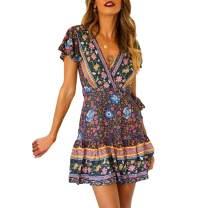 Exlura Women's Summer Mock Wrap V Neck Bohemian Floral Printed Split A Line Ruffle Hem Beach Mini Dress with Belt Plus Size