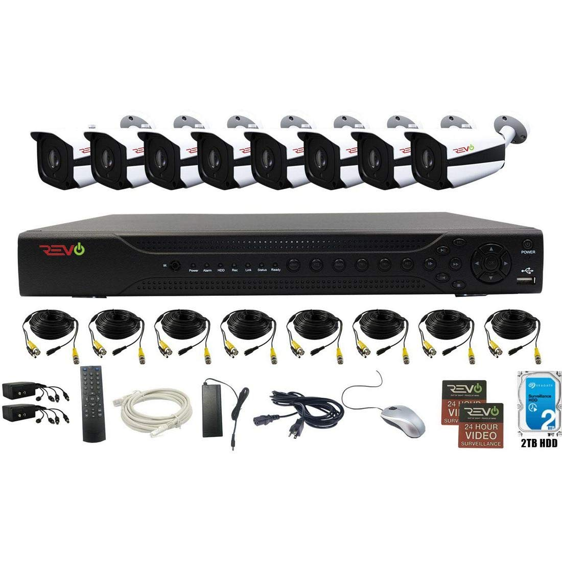 Revo America AeroHD 16Ch. 5MP DVR, 2TB HDD Video Security System, 8 x 5 MP IR Bullet Cameras Indoor/Outdoor - Remote Access via Smart Phone, Tablet, PC & MAC
