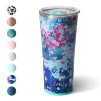 Swig Life 22oz Triple Insulated Stainless Steel Skinny Tumbler with Lid, Dishwasher Safe, Double Wall, and Vacuum Sealed Travel Coffee Tumbler in Artist Speckle Pattern (Multiple Patterns Available)