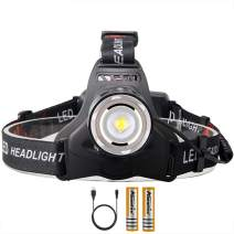 Alonefire HP36 Tactical USB Rechargeable LED Headlamp Flashlight 4000 Lumen IPX5 Waterproof Zoomable 3 Mode for Camping Hiking Running Hunting Fishing(18650 Battery Included)
