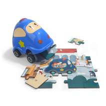 Toddlers Floor Puzzle Police Car Toy for 3 Year Old Boy Girl Gifts - Educational Learning Toy Puzzle 24 Pieces Wooden Puzzles STEM Toy