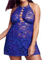 Lingerie for Women Plus Size, Sexy Halter Allover Lace Plunge Crisscross Neck Babydoll Backless See Through Set
