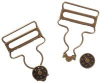 Dritz 6-38 Overall Buckles with No-Sew Buttons for 1-1/4-Inch, Antique Brass 2-Count