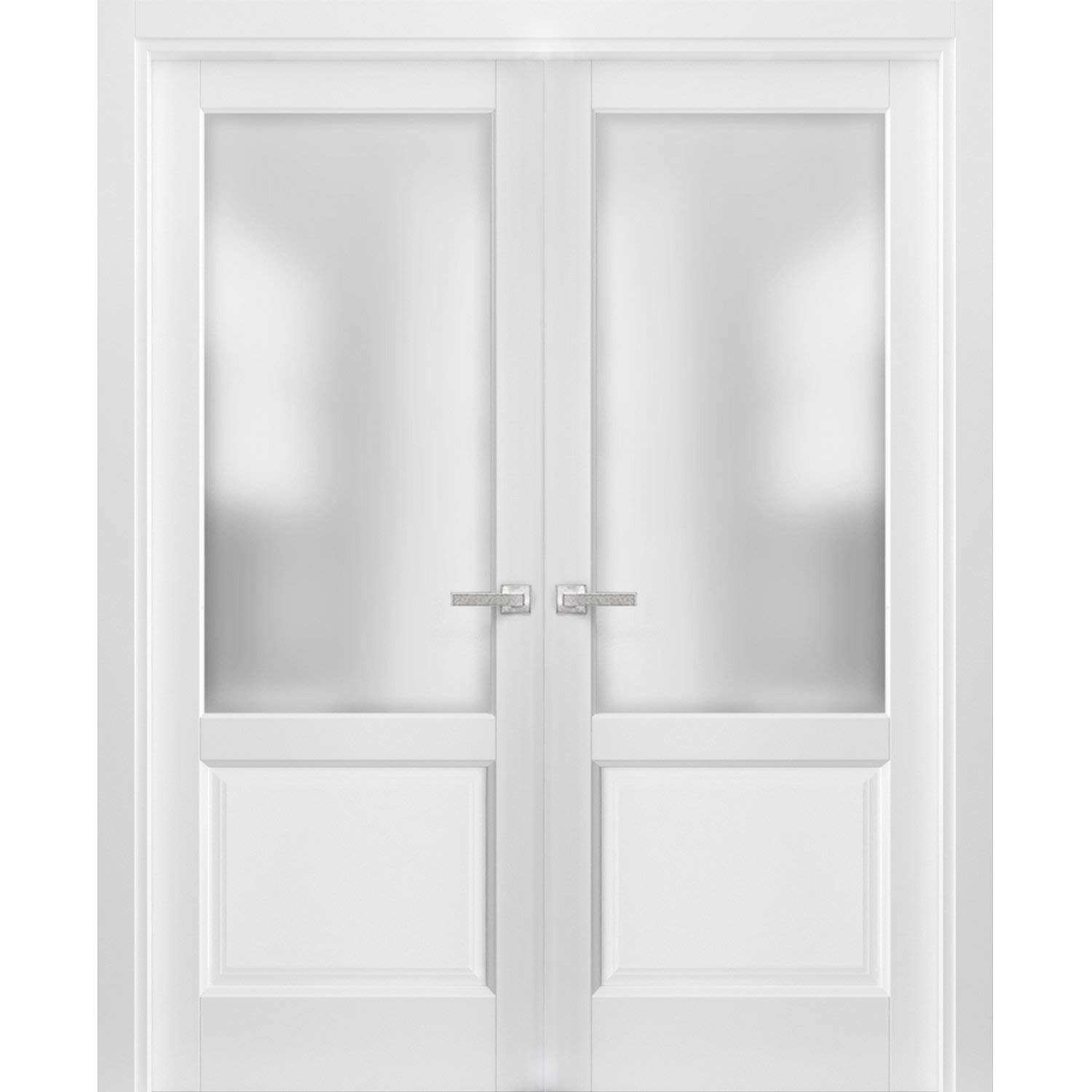 French Double Panel Lite Doors 56 x 80 with Hardware | Lucia 22 Matte White with Frosted Opaque Glass | Pre-Hung Panel Frame Trims | Bathroom Bedroom Interior Sturdy Door