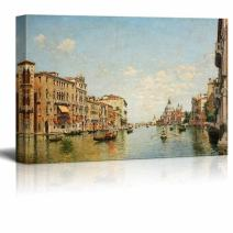 "wall26 - View of The Grand Canal of Venice by Federico del Campo - Canvas Print Wall Art Famous Painting Reproduction - 32"" x 48"""