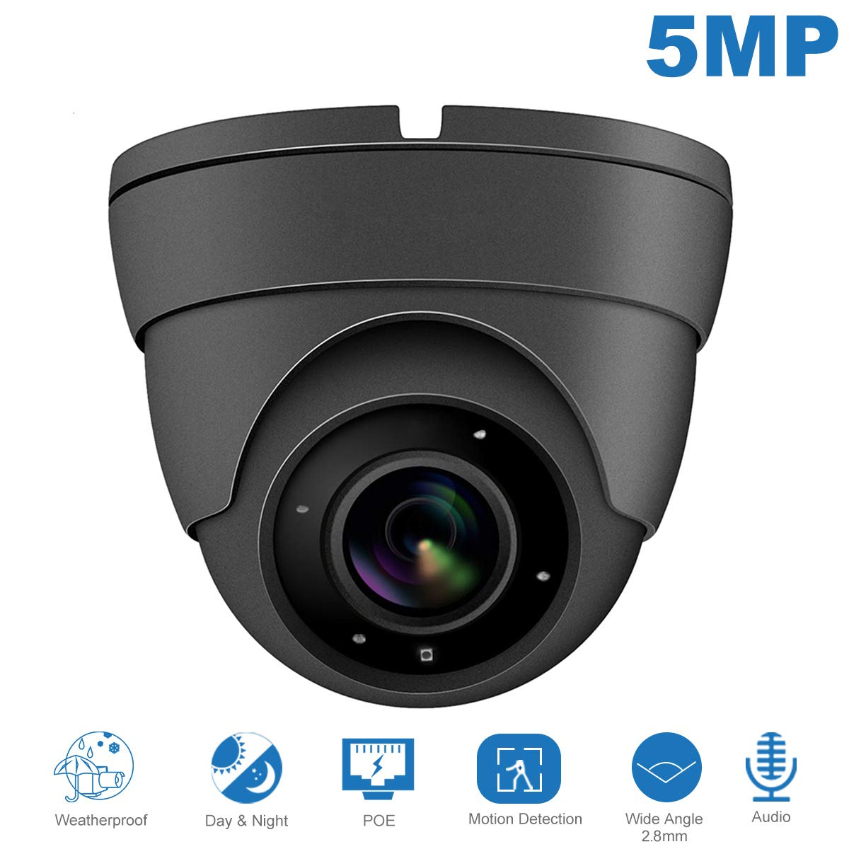 IP POE Dome 5MP Camera(Hikvision Compatible),Audio Super HD Security Camera with Microphone & ONVIF Supports,Indoor Outdoor Wide Angle 2.8 mm Lens IP66 Weatherproof 20m Night Vision#IPC-3150G-S