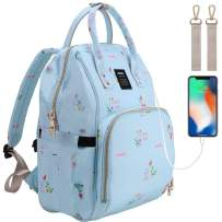 Funnideer Diaper Bag Backpack,Large Capacity Diaper Bag for Mom/Dad with USB Charging Port,Stroller Straps,Multi-Function Waterproof Backpack Nappy Bags for Baby Care, Durable and Fashionable