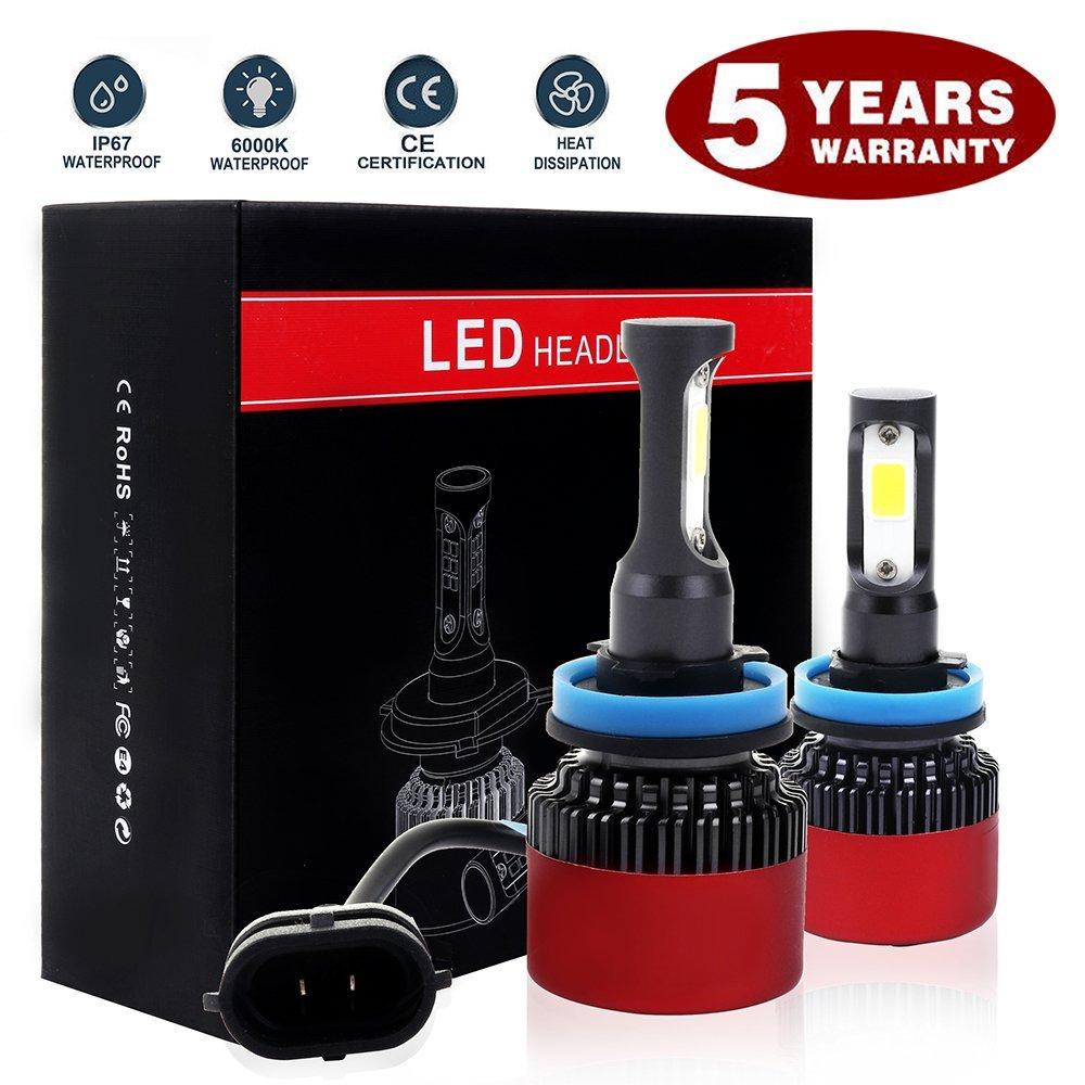 ECCPP H11/H8/H9 LED Headlight Bulb Hi/Lo Beam White Headlamp Conversion Kit - 80W 6000K 9600Lm - Pack of 2