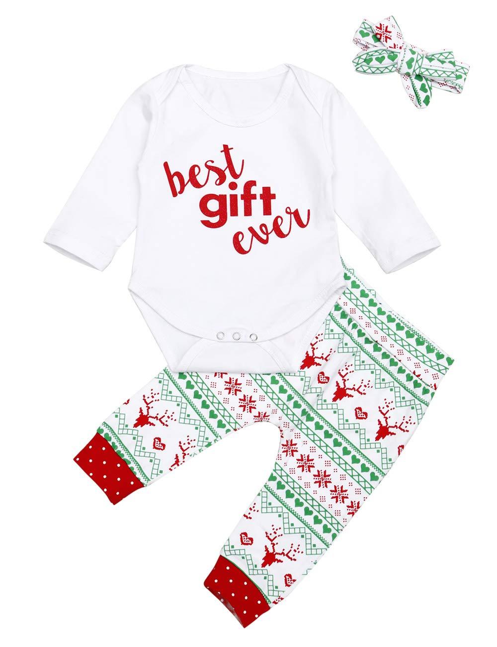 3PCS Newborn Baby Girl 1st Christmas Romper Tops Dress Skirt Outfits Clothes Set