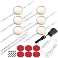 Lvyinyin Under Cabinet LED Puck Lights, 3 Colors Changeable, Dimmable Linkable 6 Lights Kit, for Kitchen Counter Closet Cupboard Lighting, 110V to 12V Wall Plug