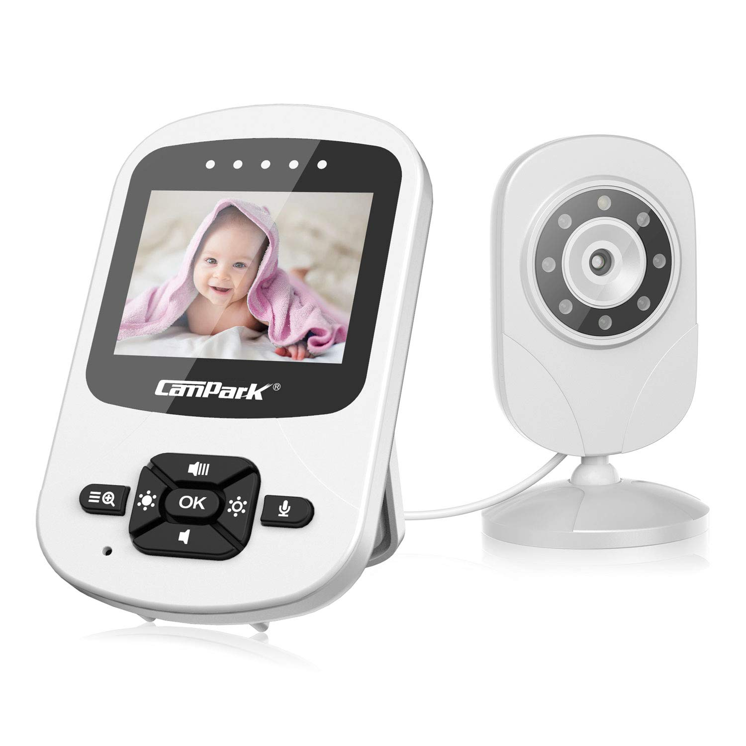 """Campark Video Baby Monitor with Camera Portable Wireless Digital Camera with Infrared Night Vision, 2-Way Talk, 2.4"""" LCD 2.4GHz, Temperature Sensor, VOX, Support Multi-Camera"""