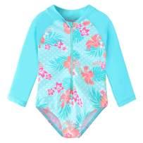 TFJH E Girls Long Sleeve Swimsuits UPF 50+ Swimwear Rash Guard Bathing Suit with Zipper One Piece