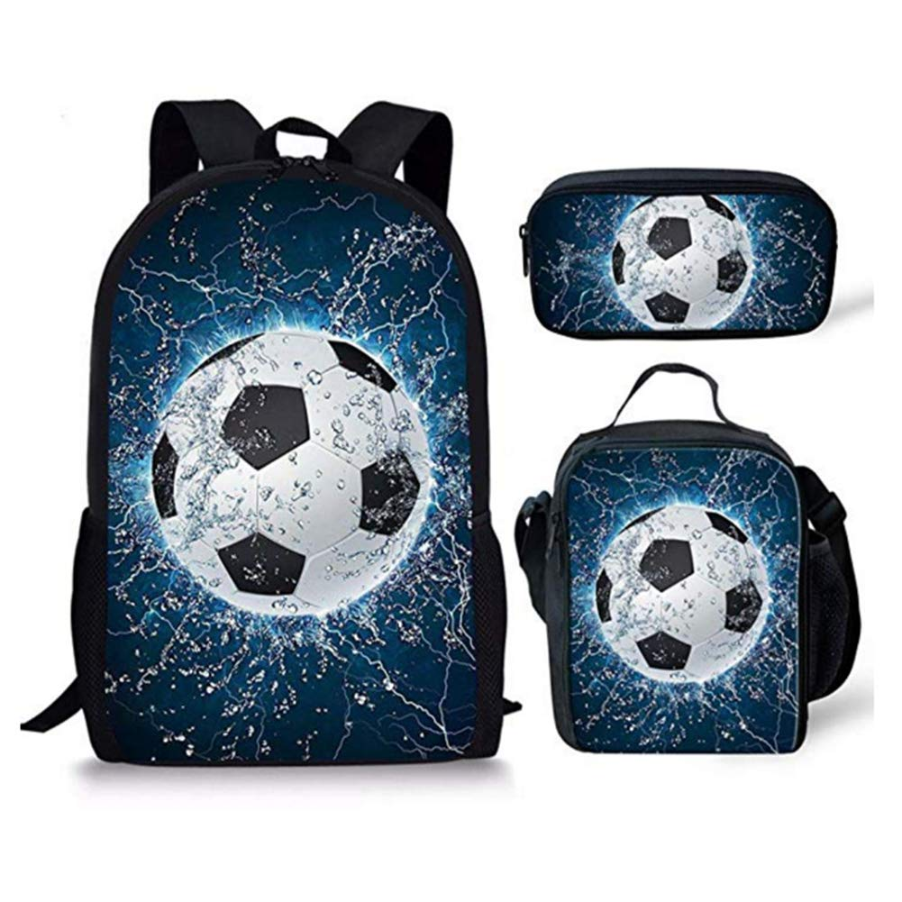 CHAQLIN Stylish Water Soccer Sport Men Backpack Lunch Bags and Pencil Bag Polyester Durable Boys Schoolbag 3pcs
