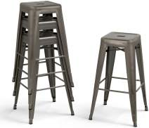 Bonzy Home Bar Stools Set of 4, 30 inches Metal Bar Stool Chair, Stackable Counter Height Barstools, Farmhouse Barstool for Kitchen and Outdoor Patio Furniture - Gunmetal