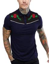 COOFANDY Men's Short Sleeve Polo Shirts Rose Floral Embroidery Casual Cotton Polo T Shirt