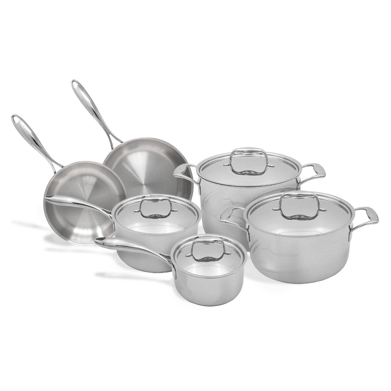 Tuxton Home Duratux 10-Piece Set Tri-Ply Cookware