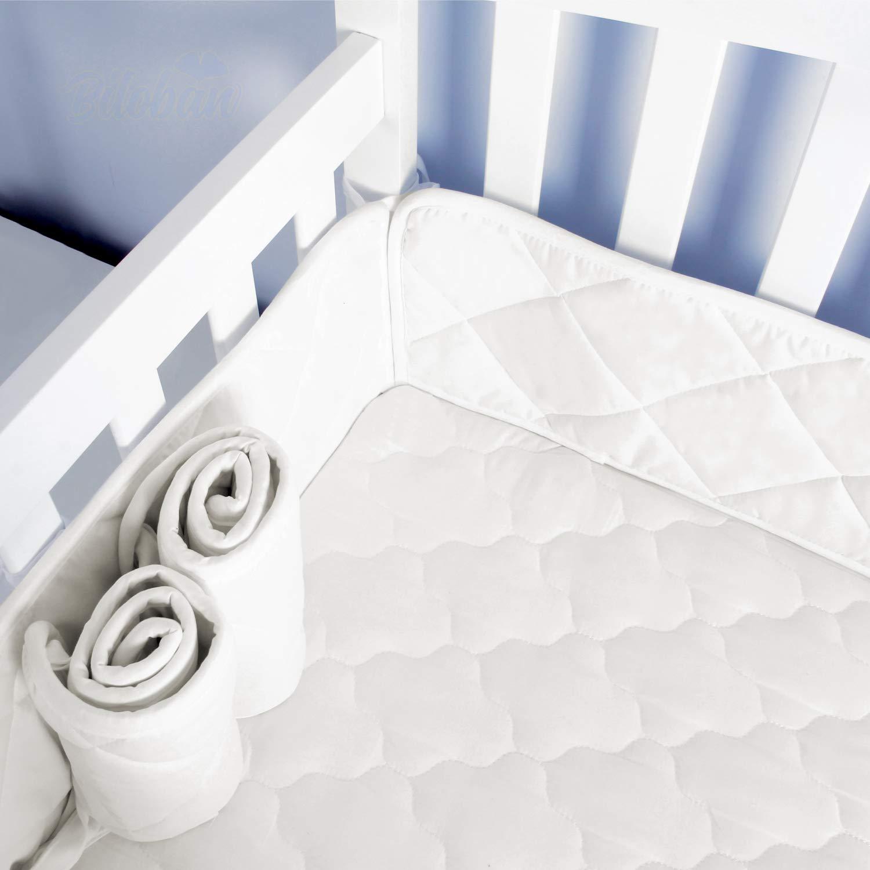 "Mini Crib Bumper Pads for Portable Mini Cribs 24""x 38"", Safe & Soft Mini Crib Bumper 4 Pieces for Baby Mini Crib Padding, White"