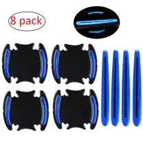 WindCar Car Door Handle Reflective Stickers Universal Auto Door Handle Scratch Cover Guard Protective Film Pad with Safety Reflective Strips 8 Pack (Blue color)