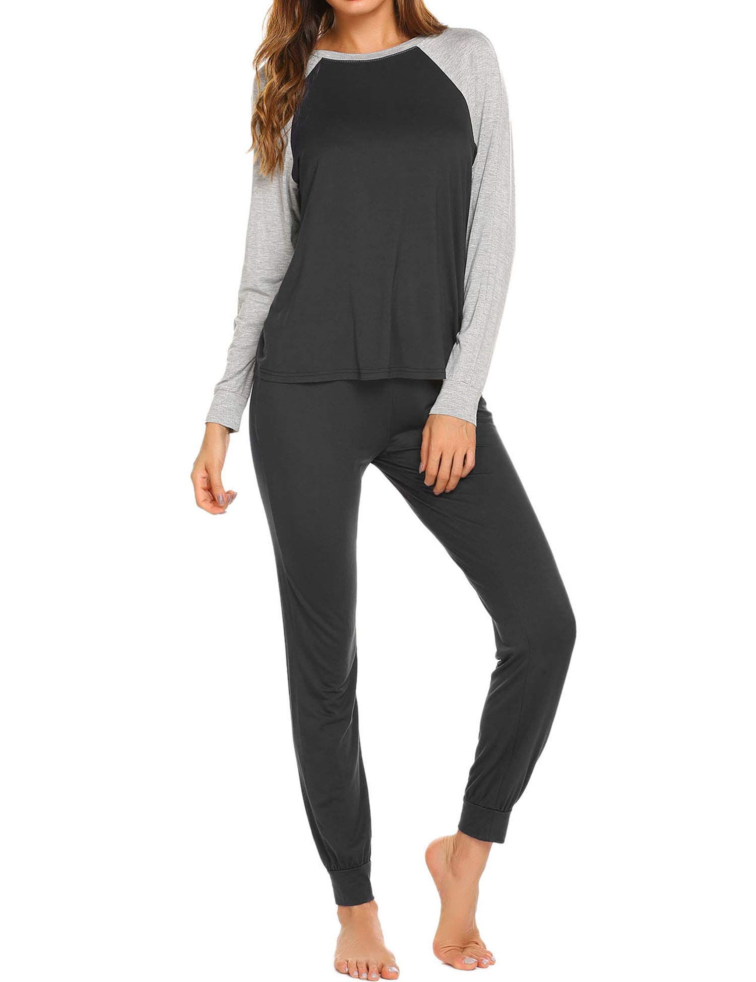 Ekouaer Pajamas Women's Long Sleeve Sleepwear Cotton Christmas Loungewear Pj Set S-XXL