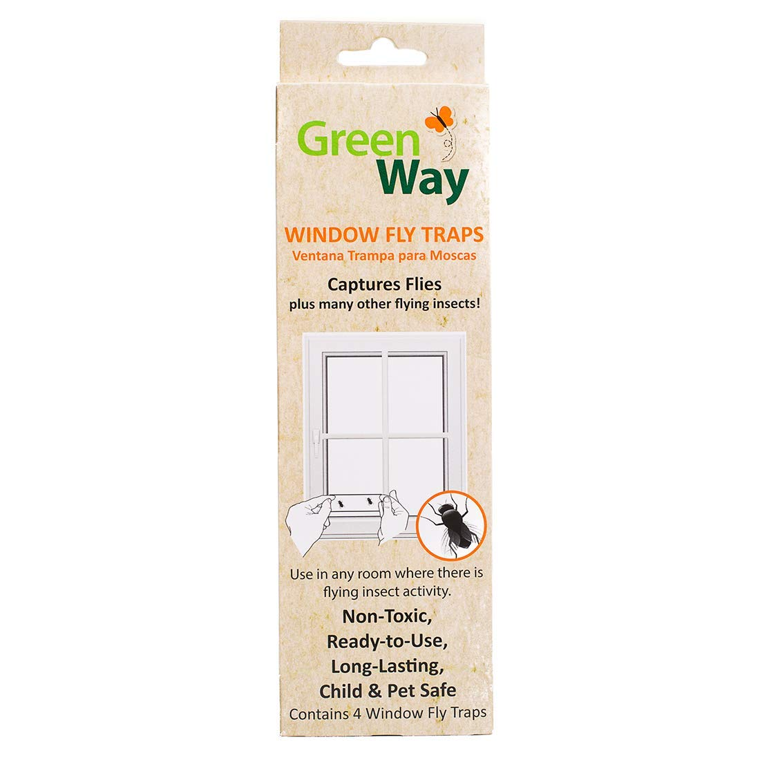 GreenWay Window Fly Trap - 4 Traps per Box, Heavy Duty Glue, Safe, Non-Toxic with No Insecticides or Odor, Eco Friendly, Kid and Pet Safe
