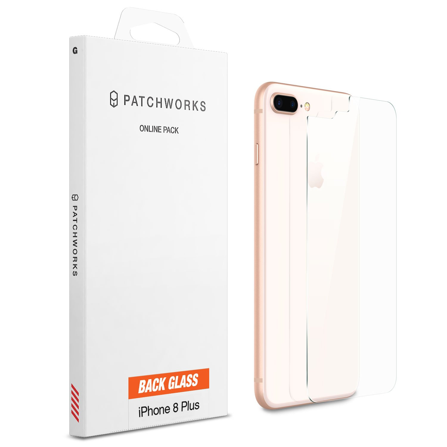 iPhone 8 Plus Screen Protector, Patchworks ITG 9H Rear Back Glass Made in Japan Maximum Strength Anti, Scratch Anti, Fingerprint Oleophobic Coated Tempered Glass Screen Protector for iPhone 8 Plus