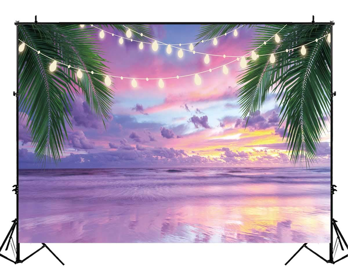 Funnytree 8X6FT Durable Fabric Summer Tropical Sea Beach Photography Backdrop Lavender Seaside Ocean Palm Lights Background for Wedding Birthday Party Banner Baby Shower Photo Studio Photobooth Props