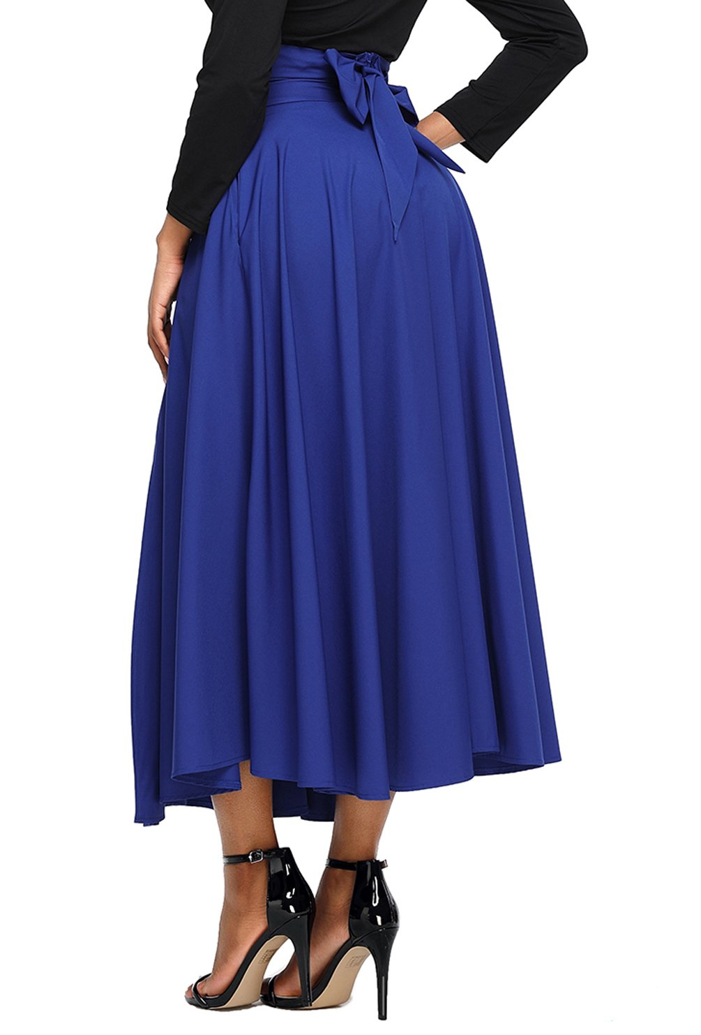 Asvivid Womens Casual Solid Button Front High Waist Summer A-Line Long Maxi Skirt with Pocket
