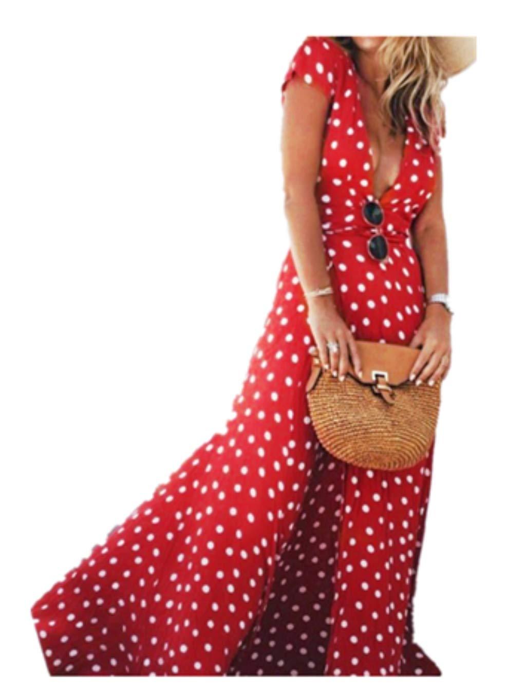 Long Wrap Dress,Hemlock Women Floor Length Chiffon Dress V Neck Dress (XL, Red)