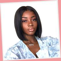 """Short Bob Wig, VIPbeauty 130% Density 13x4 Short Lace Front Bob Wigs Straight Human Hair for Black Women Pre Plucked Hairline with Baby Hair (10"""", Nature Color)"""