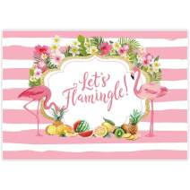 Allenjoy 7x5ft Flamingo Party Backdrop for Summer Tropical Hawaiian Beach Luau Photography Background Birthday Banner Let's Flamingle Sea Floral Girl Baby Shower Decorations Photo Booth Shoot Supplies