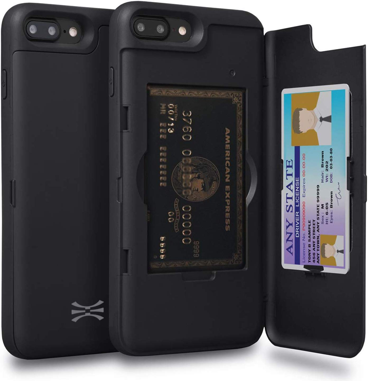 TORU CX PRO iPhone 8 Plus Wallet Case with Hidden ID Slot Credit Card Holder Hard Cover & Mirror for iPhone 8 Plus / iPhone 7 Plus - Matte Black