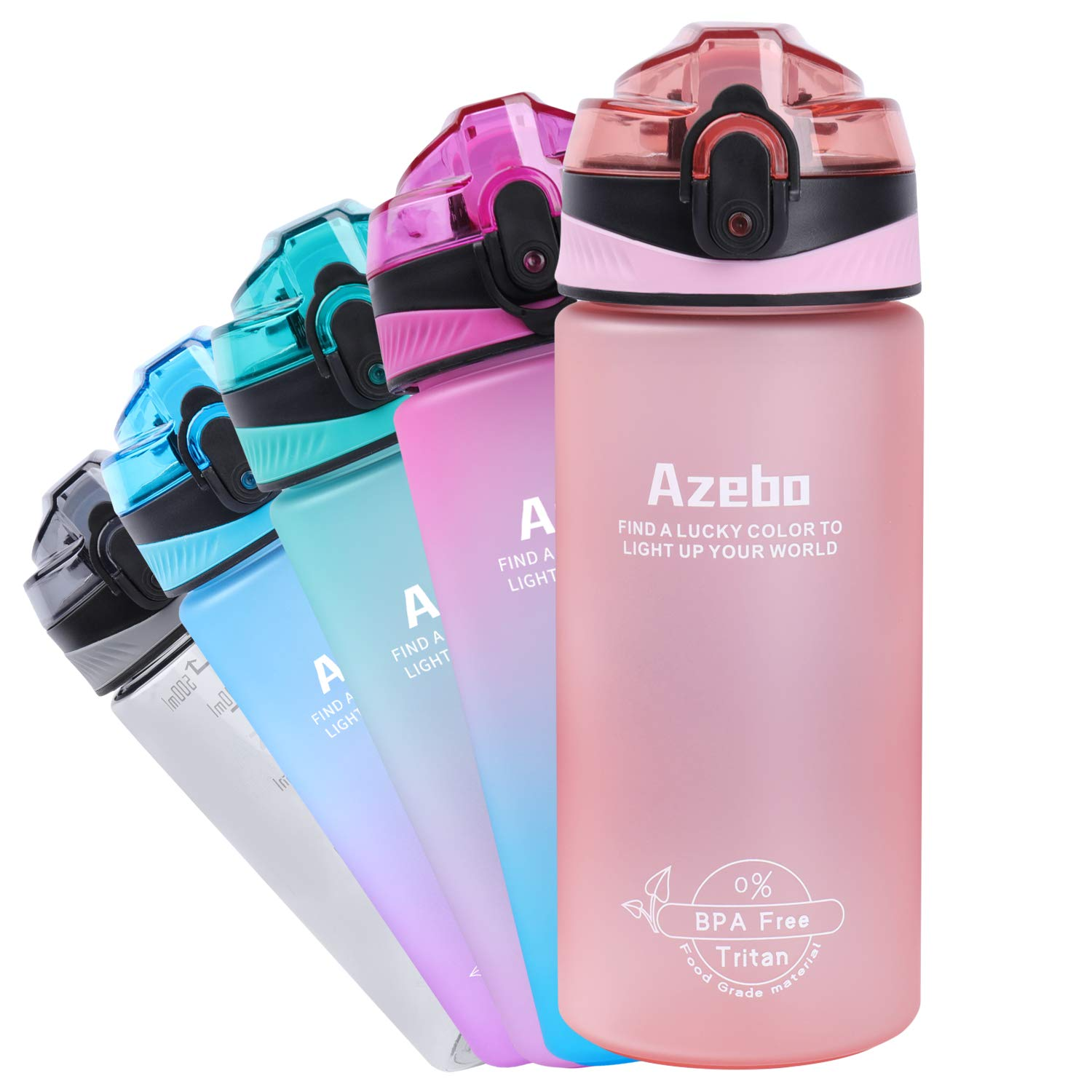 Azebo 18oz Small Water Bottle with Time Marker To Drink & Removable Strainer Infuser Tritan BPA Free Non-Toxic 500ml for Fitness Sports Outdoors and Office Mint Pink