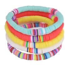 TASBERN Colorful Polymer Clay Bracelets Handmade Rainbow Disc Bead Elastic Rope Boho Beaded Bracelet Set Summer Beach Surf Stackable Stretch Bracelets Jewelry for Women