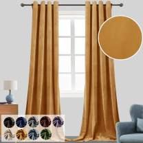 Super Soft Luxury Velvet Curtains for Living Room Light Blocking Velvet Curtain Panels Privacy Grommet Window Drapes for Bedroom/Sliding Glass Door, 2 Panels (Orange, 52W108L)