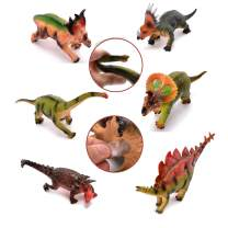 WonderPlay 7-12 Inch Soft Dinosaur Figures Toys Set - Jungle Animal Action Figures Educational Jurassic Dinosaur Toys Party Favors Game for Boys Girls Kids Toddlers