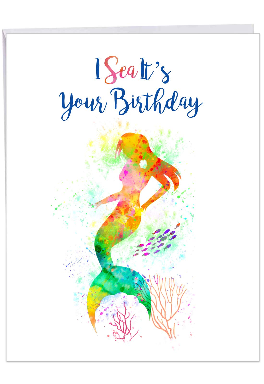 Funky Rainbow Mermaids - Cute Watercolor Happy Birthday Card with Envelope (Big 8.5 x 11 Inch) - Inspiring Sea Mermaid, Colorful Bday Notecard for Kids, Girls - Appreciation Greeting Gift J6863GBDG
