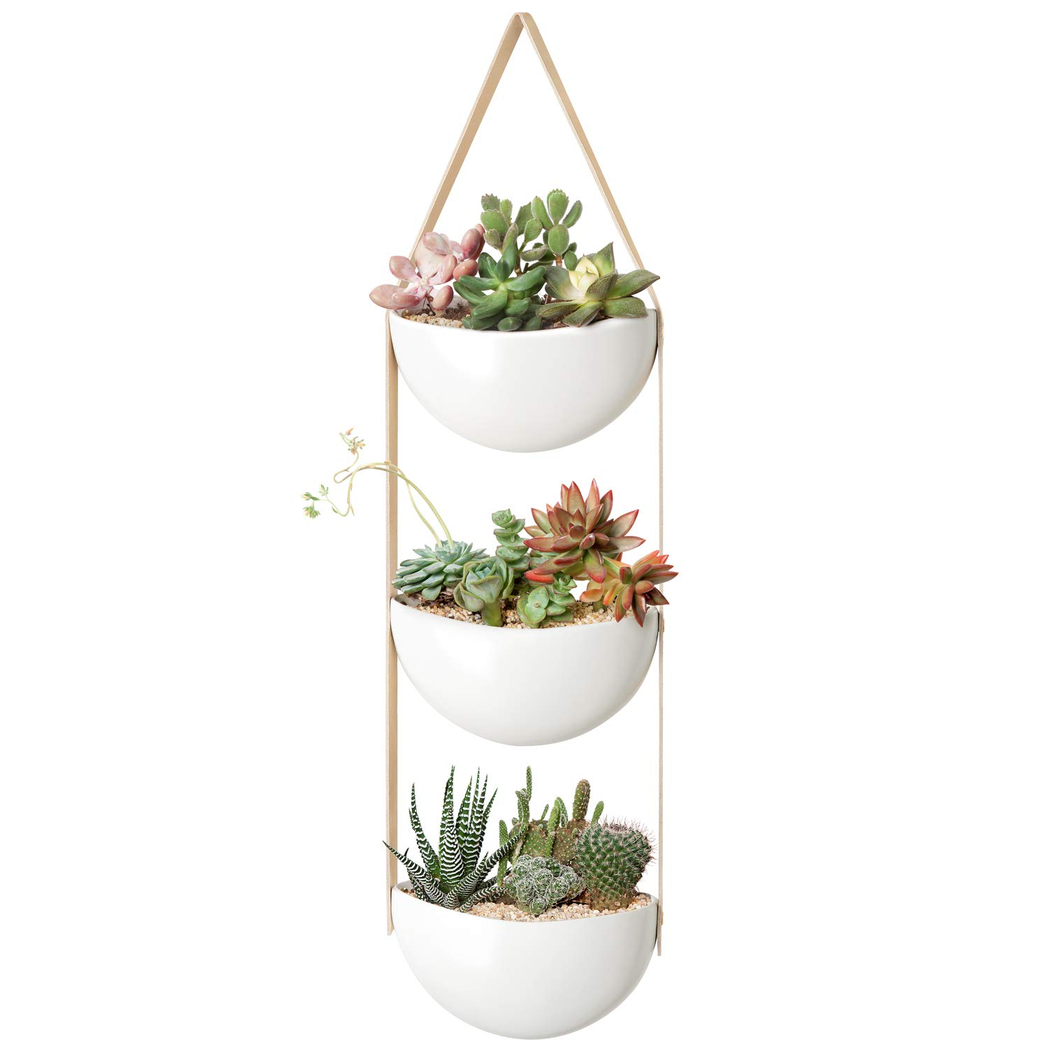 Mkono Ceramic Wall Hanging Planter 3 Tier Decorative Plant Flower Pots with Leather Strap Indoor Modern Vertical Garden for Succulent Herb Air Plant Live or Faux Plants Home Decor, White