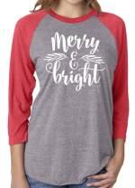 Merry Bright Christmas Women T Shirt Cute Leaf Print 3/4 Sleeve Raglan Splicing Tops