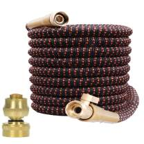 "Garden Hose Expandable and Flexible - All New Expandable Water Hose Super Durable 3750D Fabric 4-Layers Flex Strong Latex 3/4"" Solid Brass Fittings Strength Fabric Hose with Jet Nozzle and Washers"