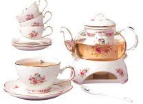 Jusalpha Fine China Flower Series Tea Sets-Tea Cup Saucer Set with Teapot Warmer- Filter and Spoon, 16pcs in 1 set (16pcs set)