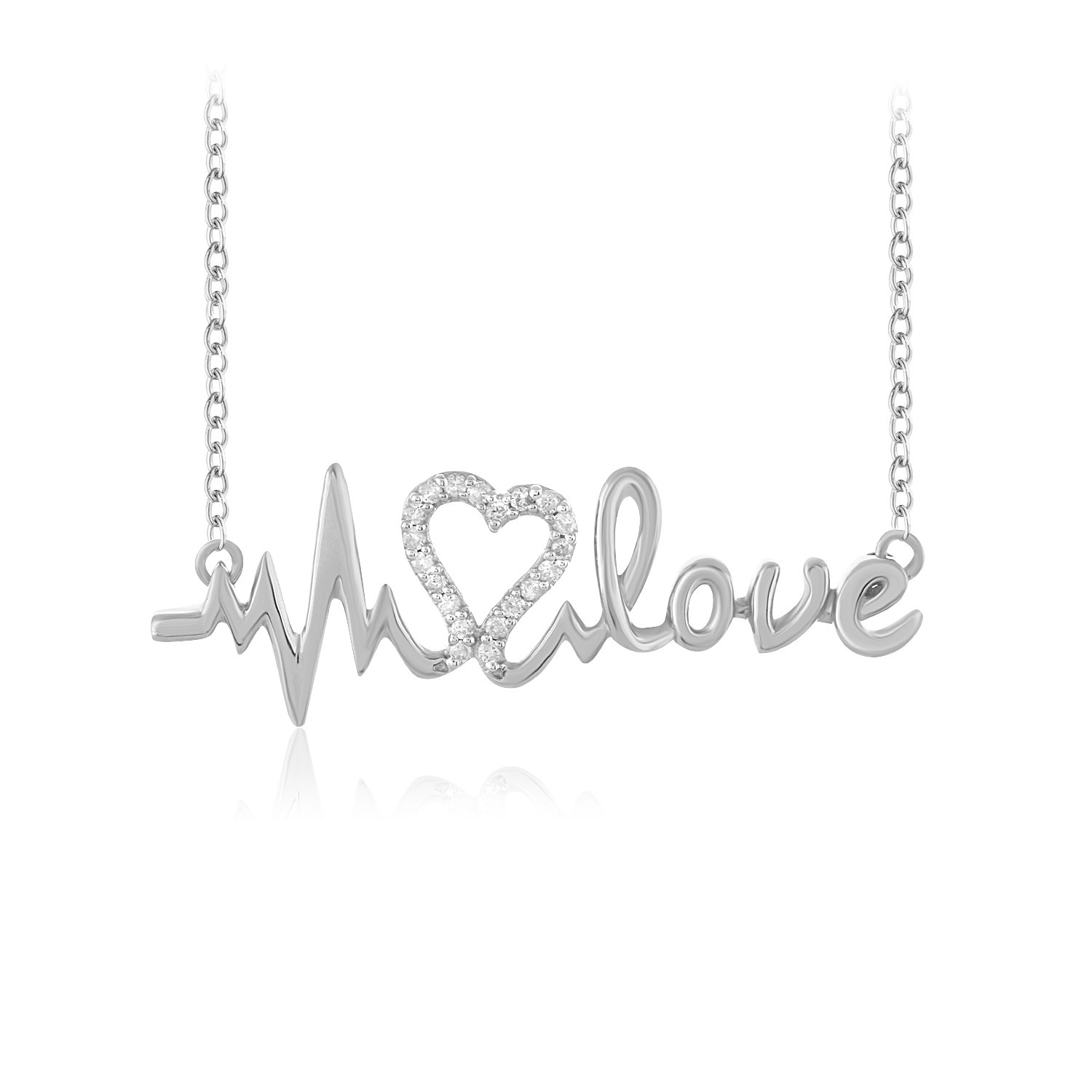 CARATS FOR YOU .925 Sterling Silver Round Cut Real Natural Diamond Heart Heartbeat Love Pendant Chain Necklace For Women,18 inch