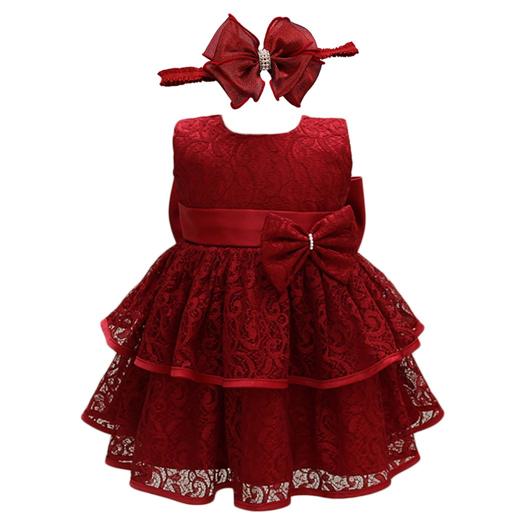 21KIDS Baby Girls Tulle Lace Flower Bridesmaid Gown Backless Dress with Bow for Party Wedding