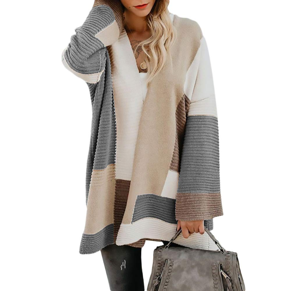 Exlura Women's Color Block Cardigan Open Front Knitted Sweater Poncho Outwear
