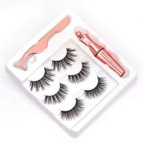 Magnetic Eyeliner and Lashes Kit, Eyeliner Waterproof and 3 Pair Natural & Reusable Fluffy Soft Eyelashes (bu000009) (Rose Gold)