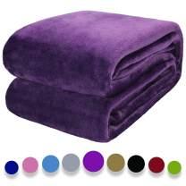 "Auchen Flannel Fleece Blanket Throw Deep Purple Home Blanket,Fluffy Blanket Warm Bed Throws for Sofa and Pet,Exquisite Comfortable Deep Purple Flannel Fleece Blanket 150(60"") x200(80"") cm"